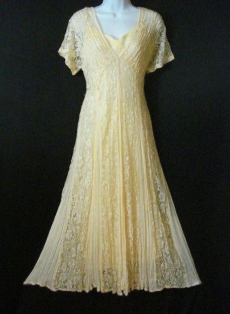 Yellow victorian lace dress long chic garden party wedding for Garden party wedding dress