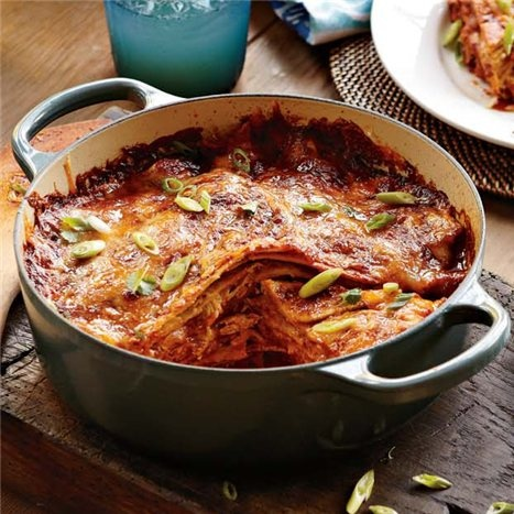 LAYERED CHICKEN THREE-CHEESE ENCHILADA Use your favorite enchilada ...