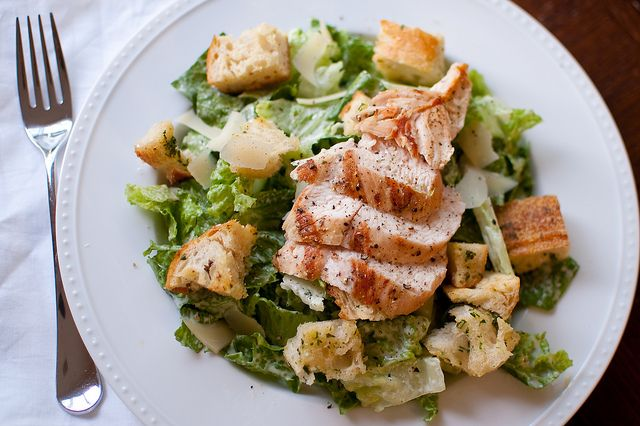 Grilled Chicken Caesar Salad with Homemade Croutons and Dressing