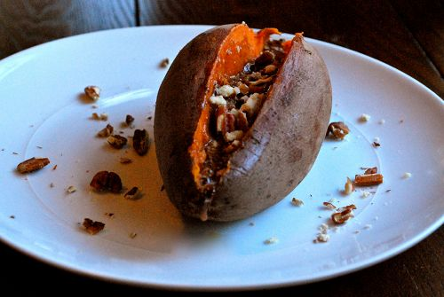 baked sweet potatos with whipped honey cinnamon butter.