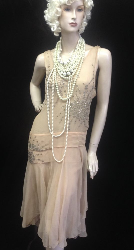 Vtg 1920's Authentic Flapper Dress Sheer Nude Crepe w ...