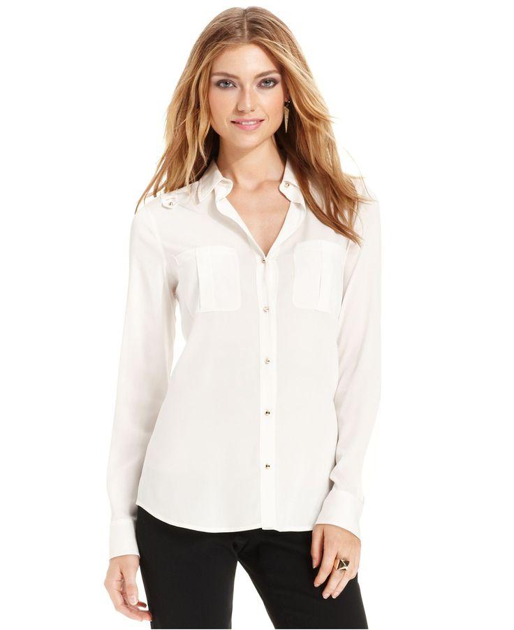 Ivanka Trump Long-Sleeve Studded Blouse - Wear to Work - Women - Macy ...