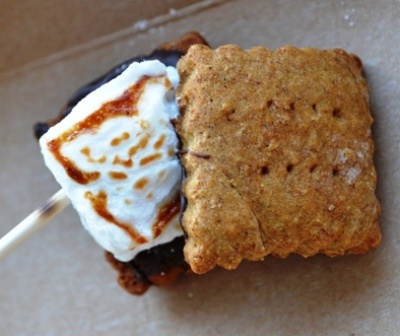 Handmade vanilla bean marshmallow sandwiched between organic honey ...