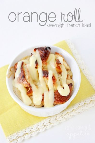 Use Rhodes orange rolls to whip up a quick baked french toast. SO good ...