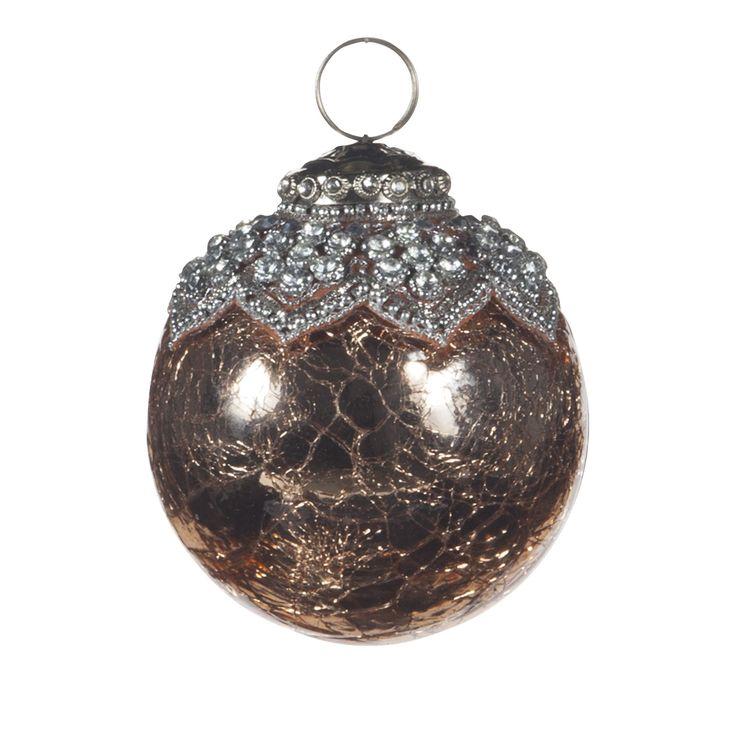 Boule en verre effet craquelé couleur cuivre Amande - Black Snow - Boules et déco à suspendre - Décoration de Noël - Toute la déco - Décoration d'intérieur - Alinéa