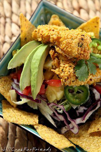 Fish Taco Salad with Avocado Chipotle Dressing