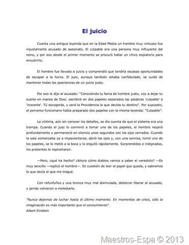 """"""" El Juicio"""" cuento   -reflexivo"""
