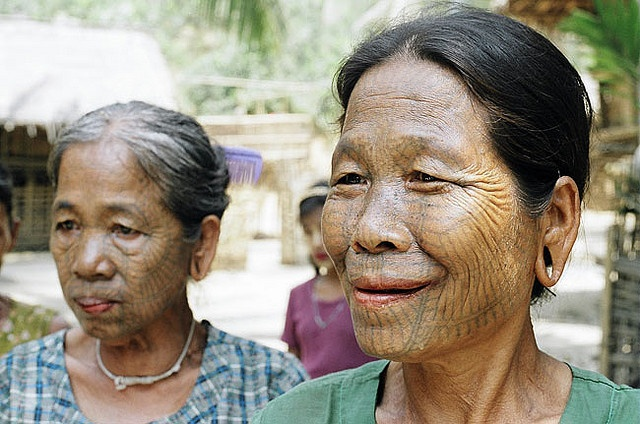 Chin women, Myanmar (note face tattoos)