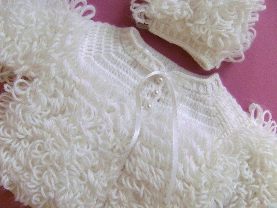... FOR JS- (TWO)BABY SWEATERS, HATS, HAND CROCHETED LOOP STITCH