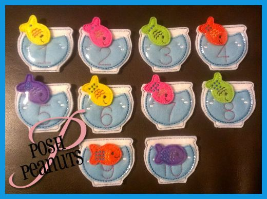Fish Bowl Matching Number Set Embroidery Design