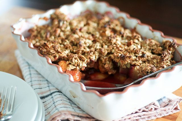 since i have tons of plums and lots of peaches plum and peach cobbler ...