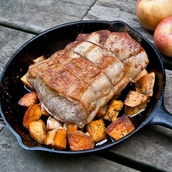 Sage-rubbed pork loin and baked sweet potatoes - a perfect fall or ...