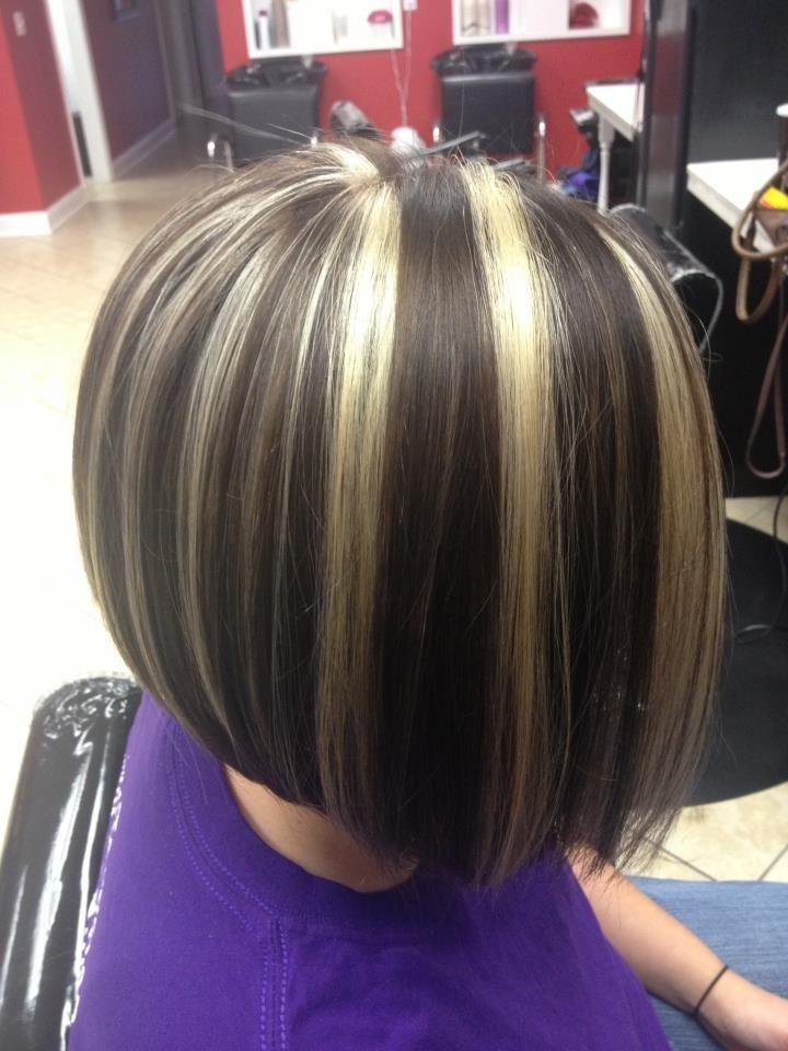 Long Brown Hair With Bold Chunky Blond Highlights Dark ...