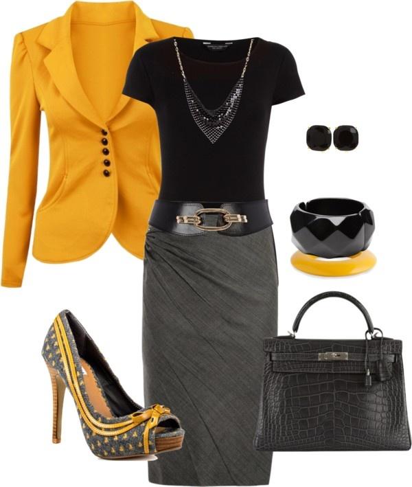 Pencil: Grey, Black & Mustard #Business #Attire