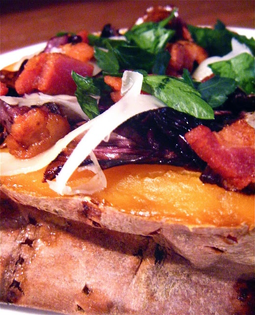 Baked sweet potatoes with balsamic roasted radicchio, pancetta and ...