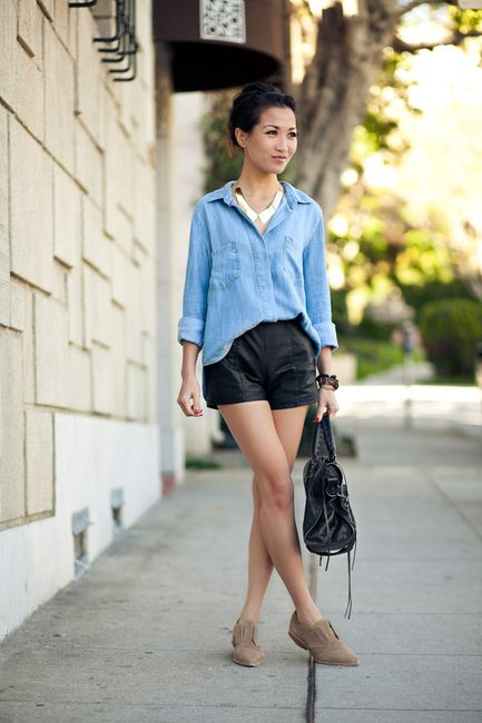 I have camel-colored faux leather shorts with which I feel this look would work equally well! :) YAY!