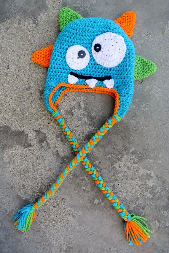 Monster Hat Knitting Pattern : Crochet Monster Hat (FREE SHIPPING)
