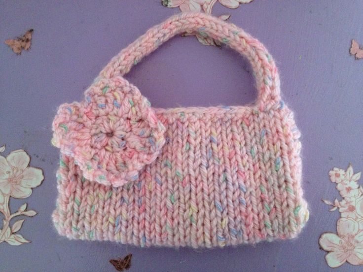 Crochet Purse For Child : Knit childs purse with crocheted flower Our home made things