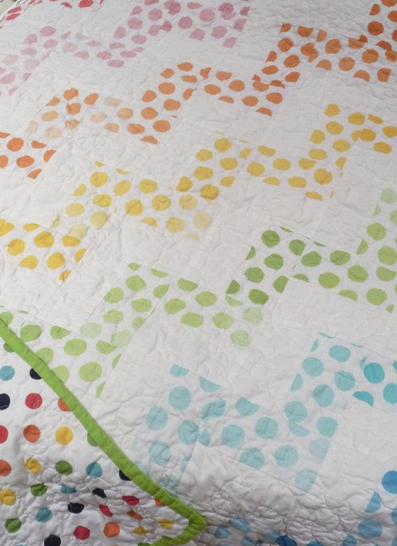 Chevron Rainbow Polka Dot Quilt by Greenerbeginnings on Etsy