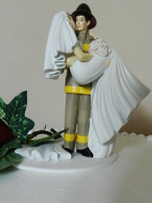 Fireman firefighter Wedding Cake Topper uniform by ColoradoCarla, $125.00
