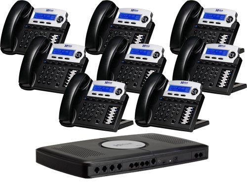 X16 Smaller Workplace Digital Phone Technique Bundle with eight Phones Charcoal (XB-2022-28-CH)
