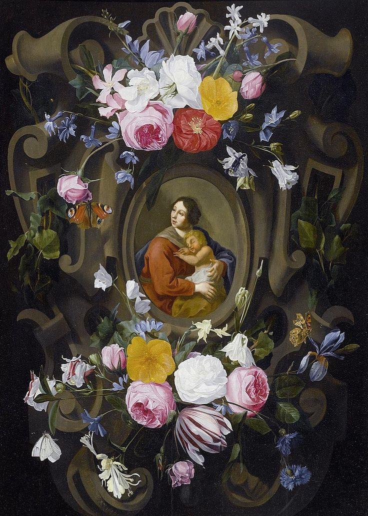 Jan Philipp van Thielen (1618-1667) — Madonna and Child within a garland, 1649  (750x1050)