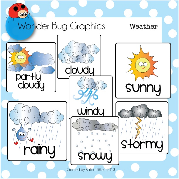 Weather cards a... Free Clipart For Teachers Pay Teachers