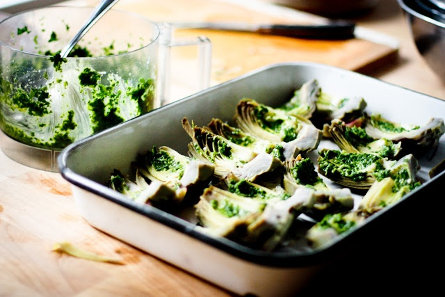 Grilled Artichokes with Herb Caper Drizzle and Lemon Basil Aioli