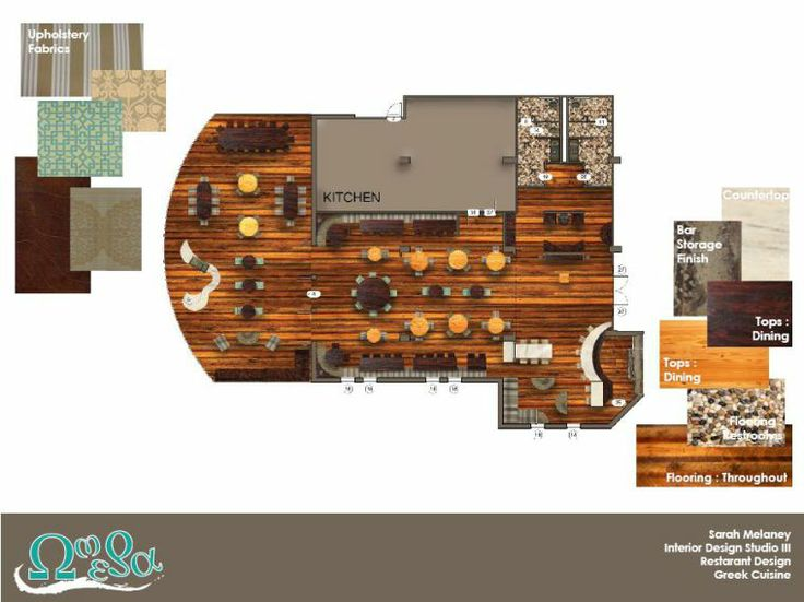 Omega Restaurant Floor Plan Interior Sketch Layout