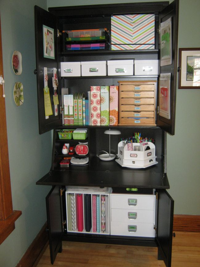 Craft area in secretary home craft sewing room ideas pinterest - Craft area for small spaces property ...