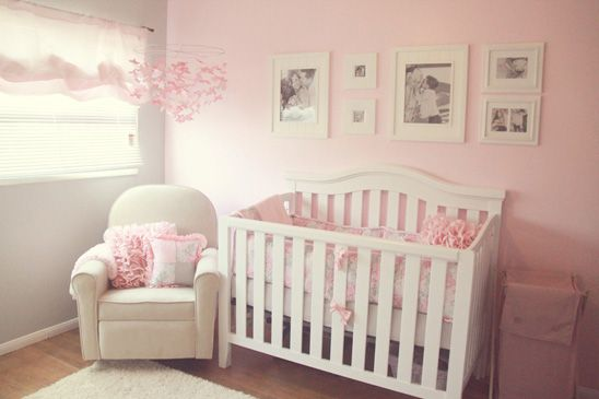 Soft and Elegant Gray and Pink Nursery Crib, Diapers and Nursery