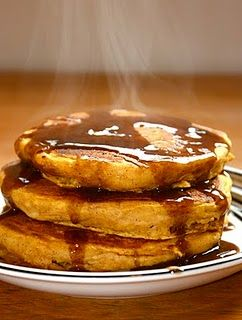 Pumpkin Pancakes with Cinnamon Syrup. Come on fall!