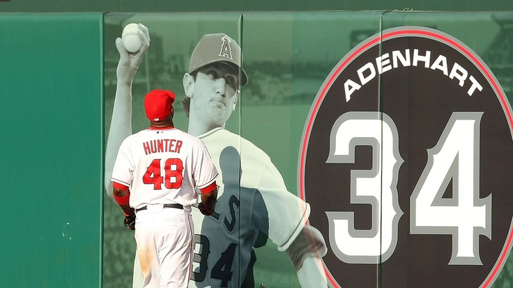 Hunter paying homage to the Adenhart memorial wall.