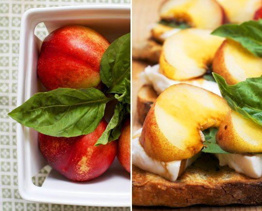 Tartines With Mozzarella, Basil, And Nectarines Recipes — Dishmaps
