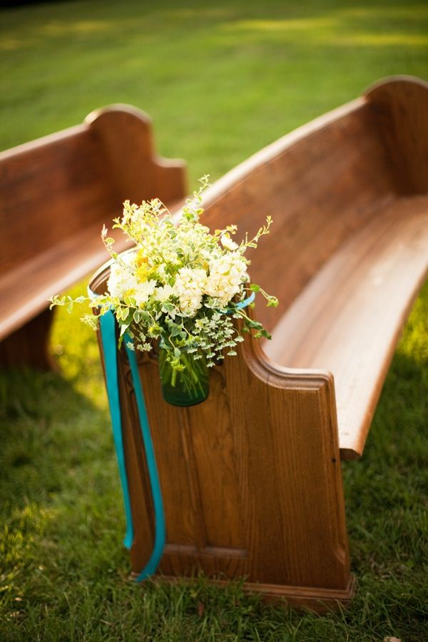 Outdoor Church Wedding Pew Flowers Aisle Pews Chairs