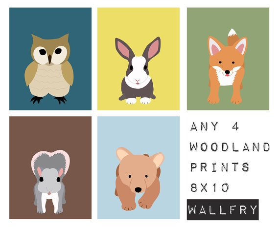 Woodland creatures wall prints...available in 5x7, 8x10 and 11x14