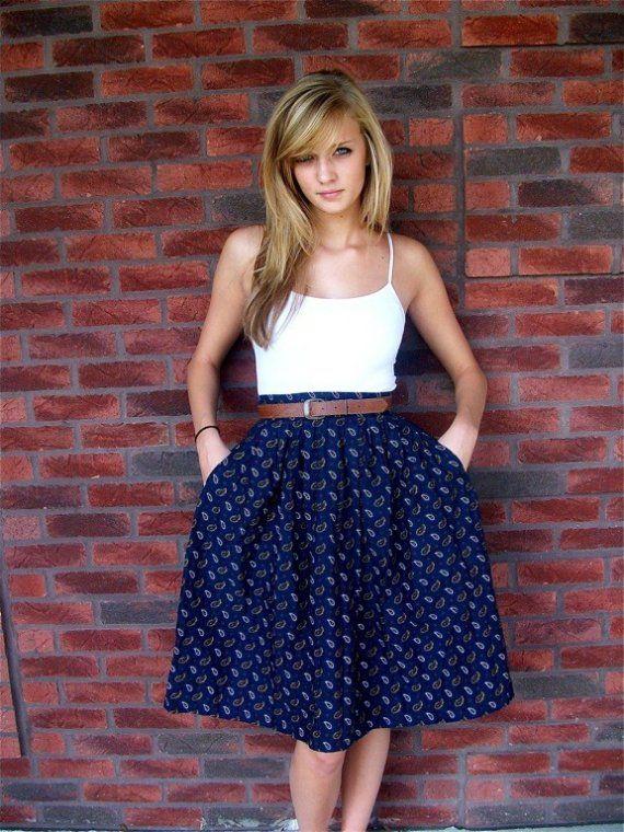 white jacket for women Vintage Blue Paisley Skirt Small