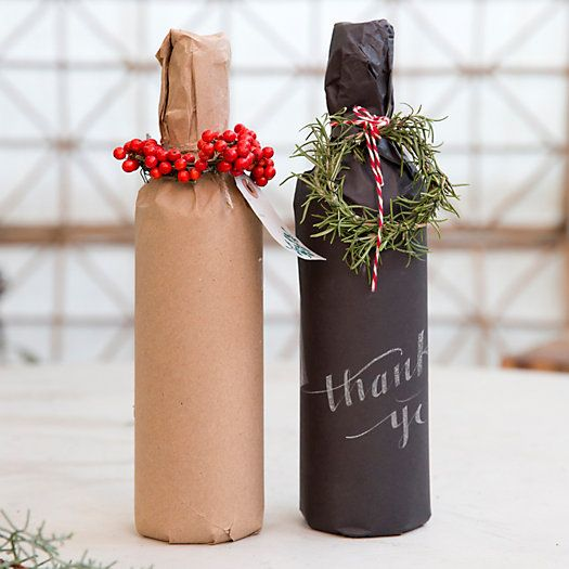 Kraft Paper | add fanciful ribbons,wreaths and hand-drawn designs