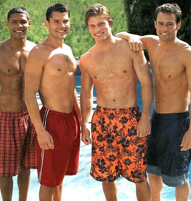 Anthony Gallo, Eli Swanson and Chris Carmack for Target (May 2002) #AnthonyGallo #EliSwanson #ChrisCarmack #malemodel #model #actor #swimwear #smile #buddies #pool