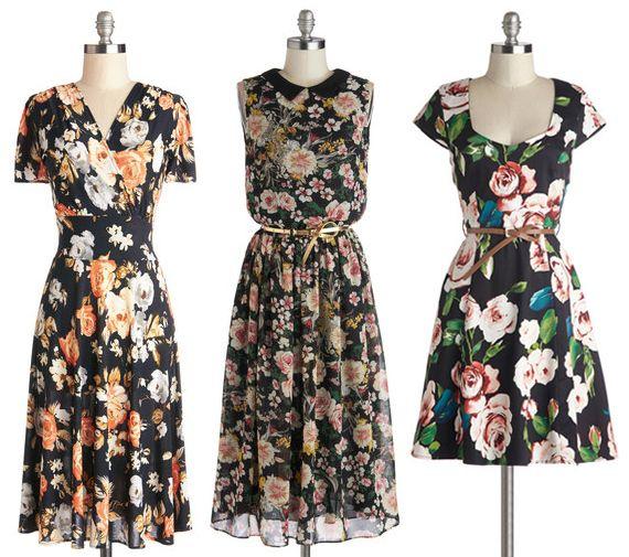 Dark Floral Dresses - Spring 2014
