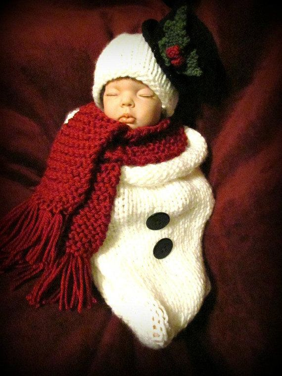 Knitting Pattern For Baby Snowman Hat : Baby Snowman Hat and Cocoon Set, Handmade, Knitted, Great Photo Prop,?