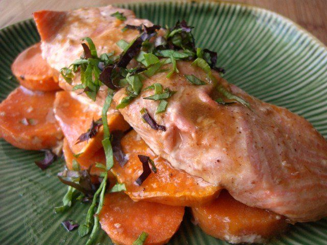 maple glazed salmon with brown sugar sweet potatoes
