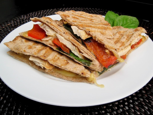 Grilled Chicken, Red Pepper, and Smoke Gouda Panini