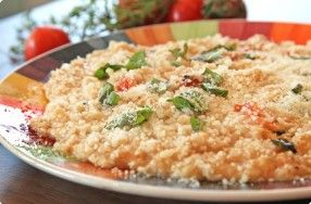 "Oatmeal ""Risotto"" w/ Cherry Tomatoes & Basil"