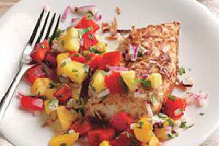 Coconut-Crusted Chicken with Mango Salsa | Healthy Recipes | Pinterest