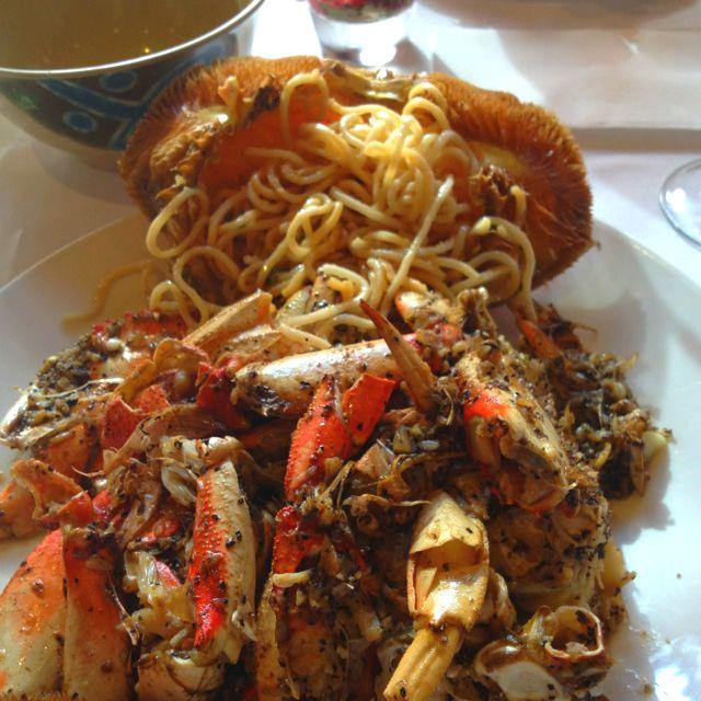 Crab & garlic noodles, Crustacean in Beverly Hills....