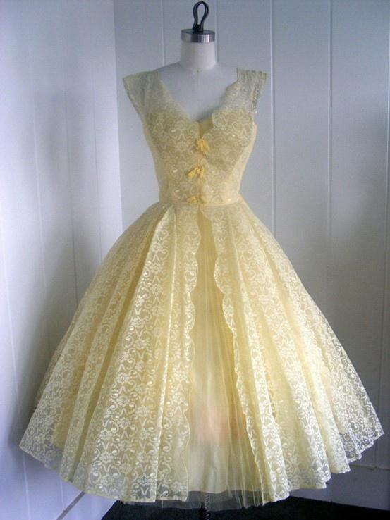 Vintage Yellow Dresses 45