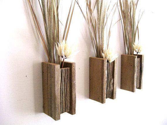 Wall Sconces Flower Vases : Set of 3 Rustic / Reclaimed / Barn Wood Wall Vase / Flower Sconce