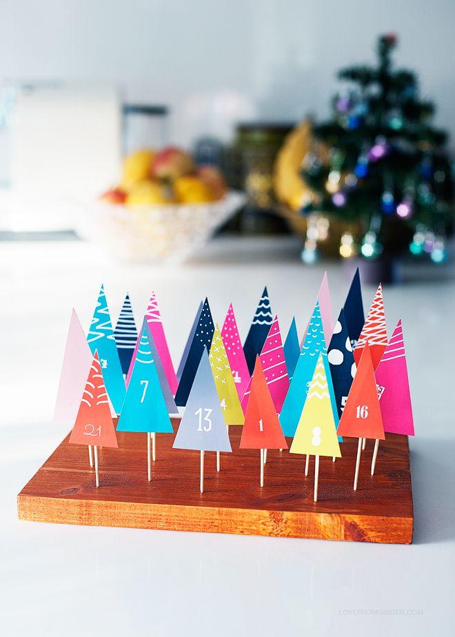 DIY Easy Printable Forest Advent Calendar via Love From Ginger