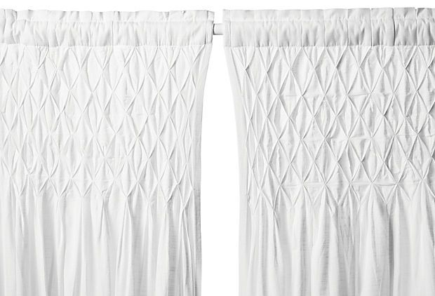 smocked 108 cotton curtain panel white on